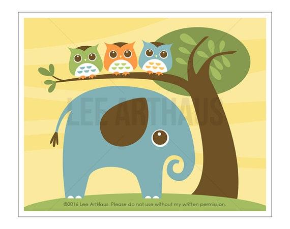 106A Elephant Nursery Print - Elephant with Three Owls Wall Art - Elephant Nursery Wall Art - Owl Nursery Art - Modern Elephant Wall Art