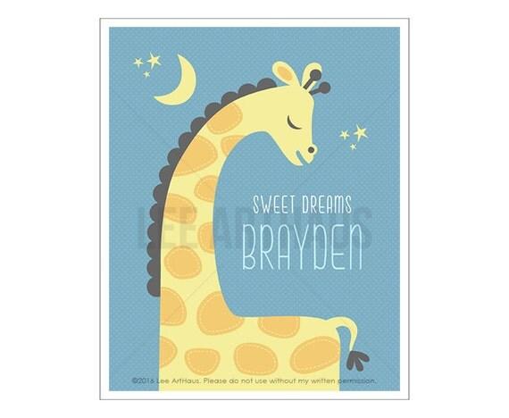 152P Giraffe Print - Personalized Giraffe Sweet Dreams Wall Art - Custom Name Boy Nursery Art - Giraffe Wall Art - Sleeping Giraffe Drawing