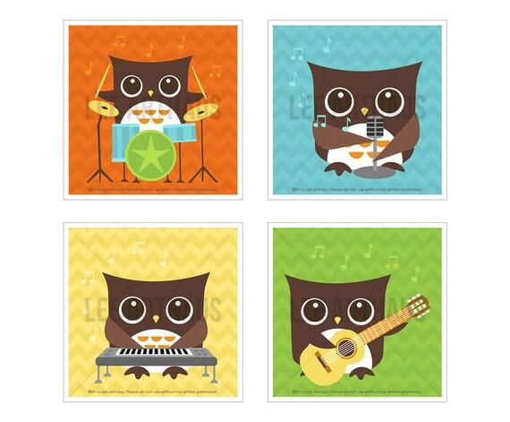 2S Owl Print - Bright Rock Band Owl Wall Art Set - Set of 4 - Modern Art for Children - Woodland Theme Nursery - Drummer Owl - Guitar Owl