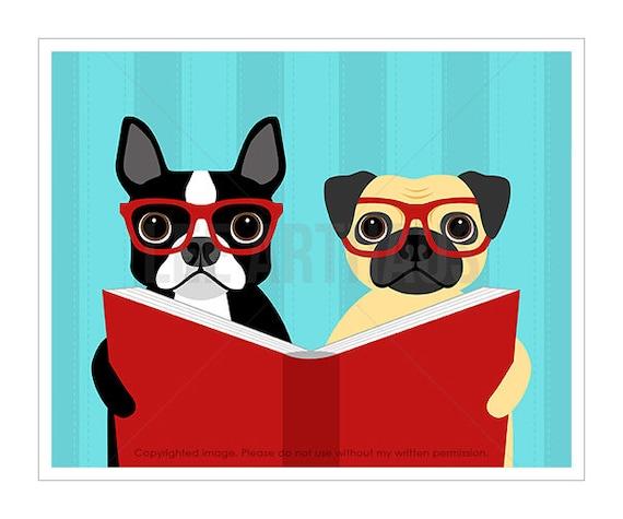 141D Dog Art Print - Boston Terrier and Pug Reading Book Wall Art - Books Wall Art - Childrens Wall Art - Dog Print - Dog Reading Book Print