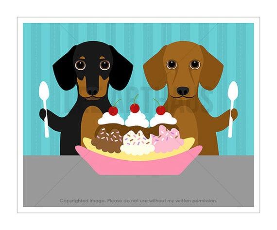 219D Dog Print - Two Dachshunds Eating Banana Split Wall Art Print - Ice Cream Print - Dachshund Print - Dotson Wall Art - Funny Dog Print