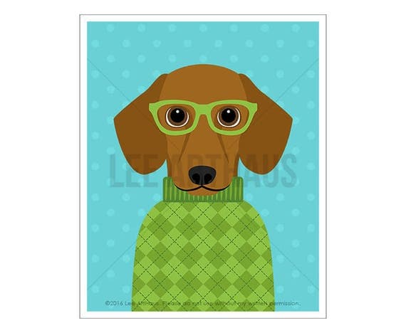 282D - Dachshund Print - Red Dachshund Wearing Green Argyle Sweater Wall Art - Dog Portrait - Wiener Dog Print - Dog Lover Gift - Doxie Gift
