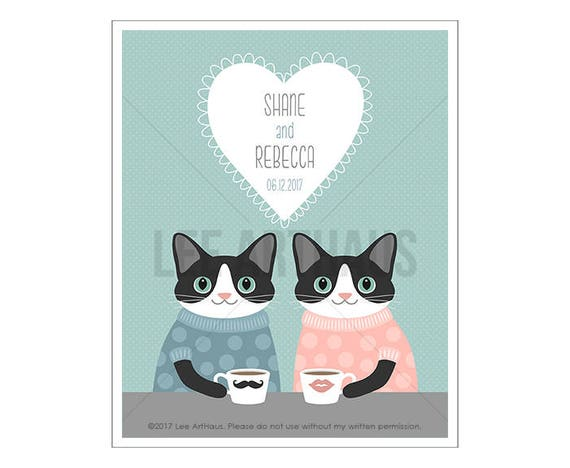 207P Cat Print - Custom Name Cats Drinking Coffee Wall Art - Wedding Gifts for Couple - Cat Lover Gift - Cat Home Decor - Personalized Art