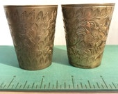 brass shot glasses - etched brass cup - votive candle holder - mini brass planter - boho barware