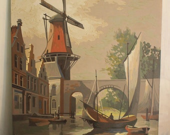 large paint by number - original acrylic painting - Amsterdam Holland Netherlands - windmill scenery