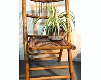 vintage bamboo folding chairs - rattan dining chairs - wooden boho furniture - SET OF 2 - Local Pickup