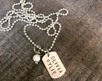 Sterling Silver Hand Stamped Mini Dog Tag Necklace Personalized, Tiny, Dainty, perfect Mothers Day Gift