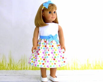18 inch Doll Clothes Easter Dress with Matching Headband, Doll Party Dress, Birthday Gift