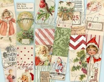 SALE CHRISTMAS STRIPS collage Digital Images  -printable download file- Digital Collage Sheet Vintage Paper Scrapbook