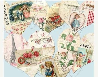 SALE COLLAGED HEARTS Collage Digital Images -printable download file-