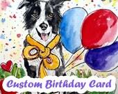 Custom Birthday Card, Original Watercolor Painting, Owl Birthday Card ,Hand Painted Cards, Cat Birthday Card, Animal Card, Personalized Card