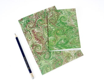 Vintage Marbled Notebooks: Green Combed French Curl Pattern with Mohawk Superfine. Traditional, heritage, journal or jotter. Ships worldwide