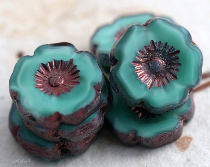 GILDED TURQUOISE PANSIES .. 6 Picasso Czech Glass Flower Beads 11-12mm (5569-6)