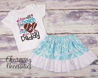 Football Coaches Daughter Top and Skirt Set, Football Fan, Baby Girl, Toddler Girl Clothes, You Call Him Coach I Call Him Daddy - Aqua