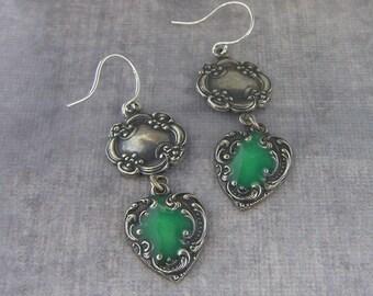 Green Earrings, Fine Silver Earrings, Heart Earrings, Flower Earrings, Dangle Earrings, Enamel Earrings, Vintage Style, Summer Jewelry