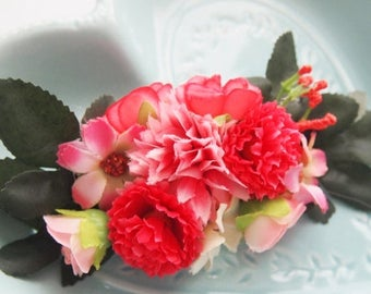 Pink Spring Fairy Floral Barrette -  Statement Piece Unique Woodland Fantasy OOAK Fae Wedding