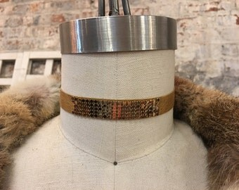 leather and metal mesh choker necklace