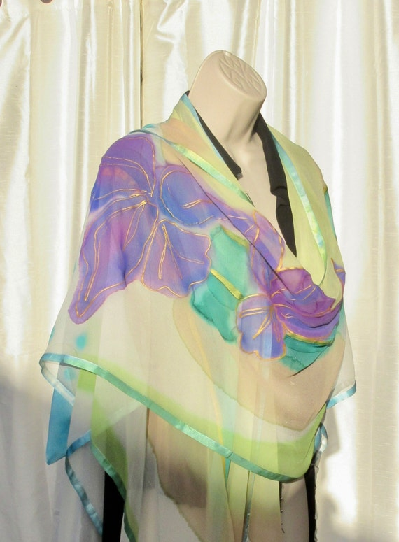 DECO STYLE Hand Painted Silk Ruana with Iris Motif and Gold Highlights