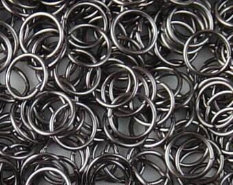 CLEARANCE Jump Ring 200 Black Gunmetal Unsoldered Closed 7mm 21 gauge NF (1022jum07k1)