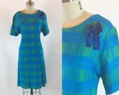 "Vintage 1950s Jule Wyer Blue Green Day Shift Dress 36"" Waist Size Large"
