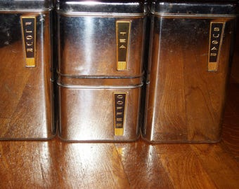 BEAUTYWARE  CHROME CANISTERS, Beautyware Canisters with Labels, Beautyware Kitchenware