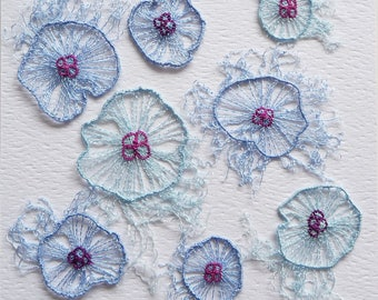 Jellyfish Swarm - unframed textile art to fit CD case or frame, machine embroidery on soluble fabric