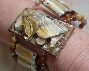 Tribal Ivory upcycled artist palette cuff bracelet in autumn colors