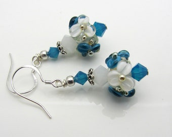 Lampwork Earrings Blue and White Flower Earrings Glass Bead Earrings Dangle Drop Earrings Floral Earrings SRAJD USA Handmade