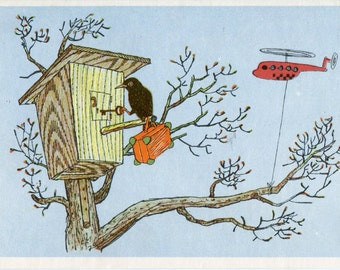 Russian vintage postcard  crow  opening birdhouse lock, helicopter, black bird with suitcase