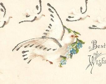 Vintage Best Wishes Postcard doves, flowers, forget me nots, glitter, antique postcard