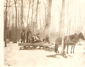 People in horse drawn sleight antique American postcard, Instant Ancestors, Vintage Family Real Photo Postcard RPPC