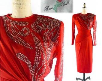 40% OFF SALE Vintage ROSE Taft Dress // 80s Dress // 1980s Dress // Rhinestone Dress // Ruched Dress // Designer Dress - sz  M - 28 Inch Wai