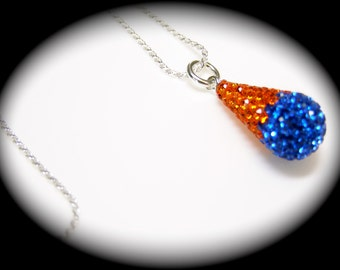 """Brilliant Hyacinth Orange & Sapphire Blue Game Day Bling Drop Sterling Silver Necklace 16"""" or  18"""" Lobster Clasp ~ Your Choice ~ Same Price"""