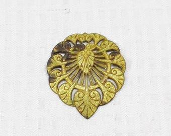 Antique Victorian Edwardian Art Nouveau Gold Tone Brooch