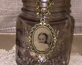 Victorian Gem Tin Type Photo Ornate Pendant and Chain Necklace Baby Child Oddities