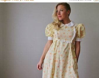 ON SALE 1960s Swiss Marigold Dress~Size Medium