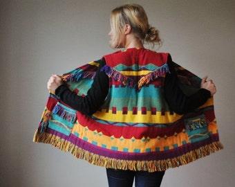 ON SALE 1990s Colorful Southwestern Fringe Vest~One size fits all