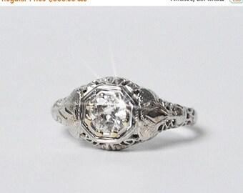 SALE Diamond Ring Vintage Estate Ring 18K White Gold Engagement Ring Solitaire Diamond Ring .50 CTW Filigree
