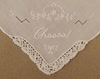 LINEN HANKIE White Mint Handkerchief Embroisered CHEERSl  Crochet accent 11x10 3/4 in