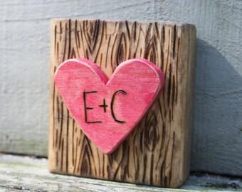 Mini Art Block- Initials in Heart - Woodburned art - Wedding Gift - Anniversary Gift