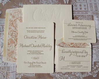 Letterpress Wedding Invitation DEPOSIT, Wedding Invitation, Wedding Invitations, Wedding Invitation Suite, Elegant Invitation