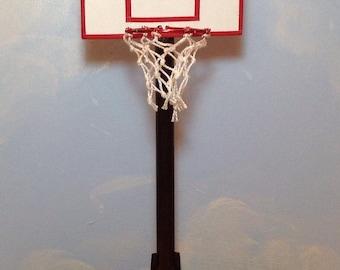 Handmade Original Design Basketball Hoop and Basketball Dollhosue Miniature 1:12 Scale