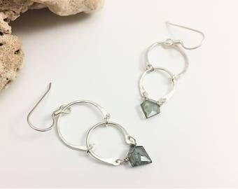 Silver Double Crescent & Pentagon Gemstone Earrings - Blue Moss Aquamarine (E440SSAQ) wire jewlery by cristysjewelry on etsy