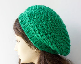 SALE, Bright Green Crocheted Beret,   Chunky  Hat,  Over Sized Slouchy Beanie, Fall, Winter, Spring, Ready to Ship