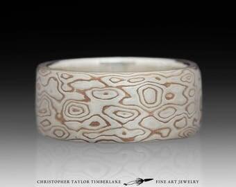 Mokume Gane Sterling Silver and Shakudo Etched Burlwood Ring