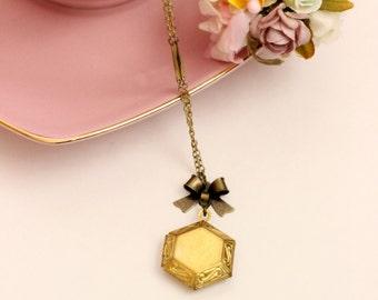 Perfume.  Hexagonal Locket Necklace