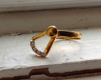 Gold Filled Spinning Doorknocker Ring with Rhinestones Size 9.5