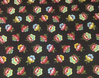 Cotton Quilt Fabric M is for Mystery Black Floral Quilting Sewing  Crafting Fabrics