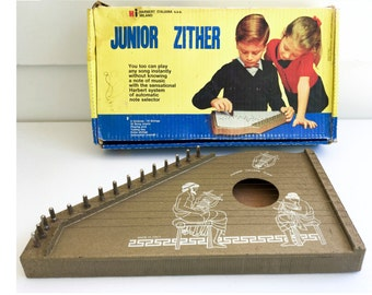 Vintage Junior Zither Musical Instrument- Music Pick SALE was 47.00