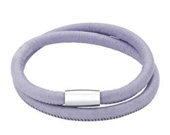 25% OFF Lilac Italian Leather Double Wrap Bracelet with Magnetic Clasp, Gifts for Her, Pastel Spring Accessory